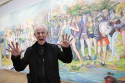 Christophe Morin / IP3 . Paris, France le 12 mai 2014. L artiste Martial Rayssepose lors de l Inauguration au Centre Pompidou de sa premiere retrospective (1960-2014). The artist Raysse poses during the inauguration of the Centre Pompidou s first retrospective in Paris on May 12, 2014. This illustrates the work of his first creations of the sixties to today.