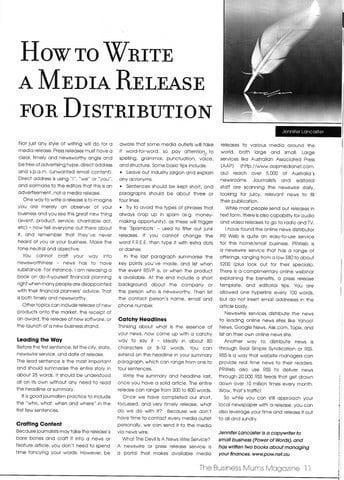 Write a Media Release article