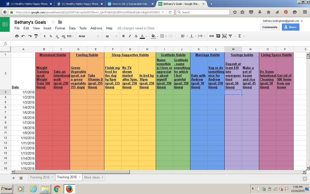 The Rainbow Spreadsheet Habit Tracking Template
