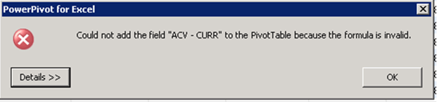 PowerPivot Formula is Invalid Error