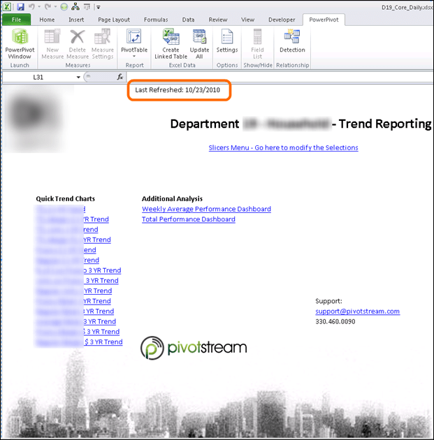 PowerPivot Report Home Page with Last Refreshed Date