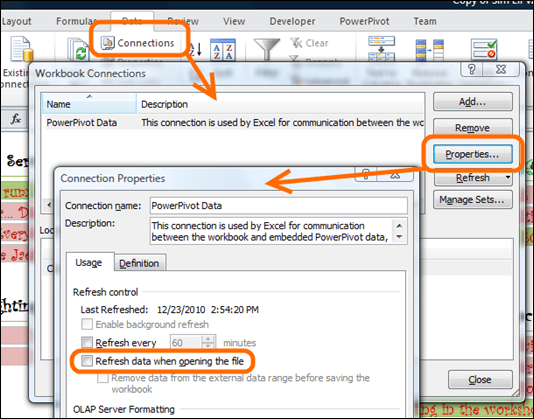 Refresh On Open Setting in Excel is Used By PowerPivot Scheduled Refresh