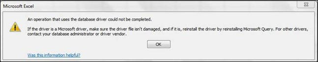 An operation that uses the database driver could not be completed - seen after downgrading PowerPivot v2 to v1.
