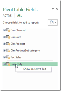 Add Table to Active Tab