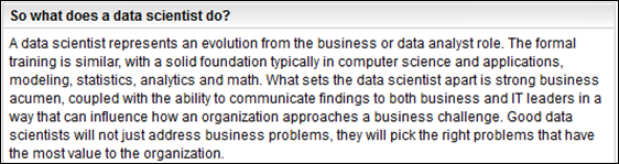 IBM Says Data Scientists Blend Many Skills:  Math, Stats, Analytics, CS, Strong Business Acumen, Strong Communication