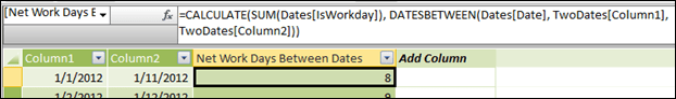 NETWORKDAYS in PowerPivot:  =CALCULATE(SUM(Dates[IsWorkday]), DATESBETWEEN(Dates[Date], TwoDates[Column1], TwoDates[Column2]))