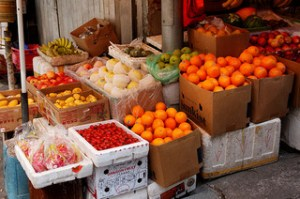 Fruit stall | store in Tai O, a fishing town located at western side of Lantau Island in Hong Kong.