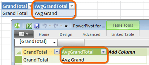 New dummy column in Power Pivot Data Model Window