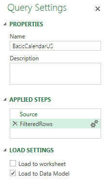 Settings in Power Query Task Pane