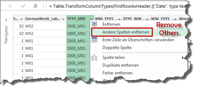 Removing all unimportant columns from the import file with Power Query