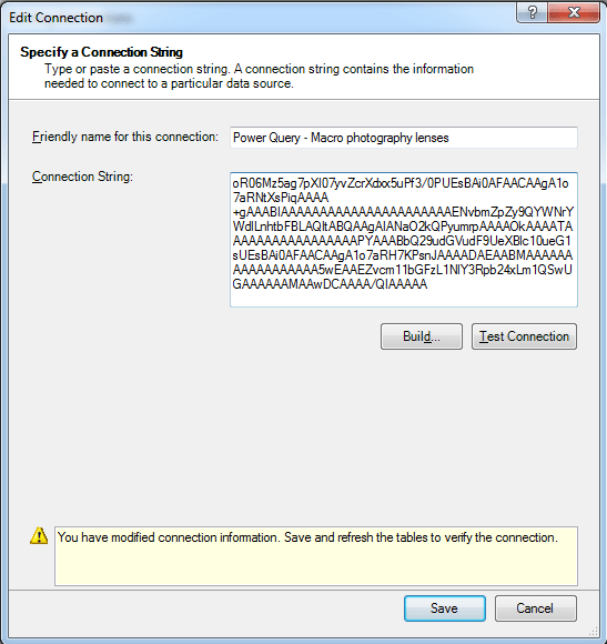 Power Pivot Corrected Power Query Connection String