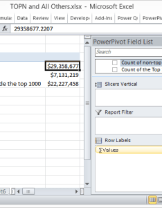 Three measures created total sales is simple the other formulas are below also displaying top  bottom and  call others   powerpivotpro rh