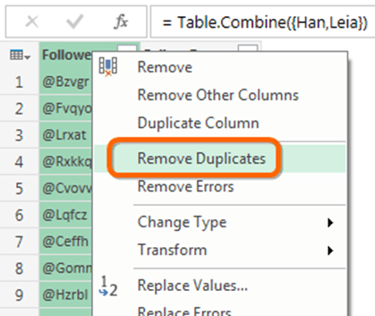 Power Query, aka Power BI Data Import - Remove Duplicates