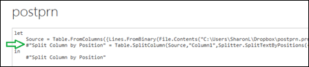 Locate the applicable #Split Column by Position formula