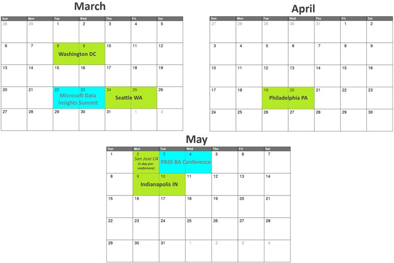Power Pivot and Power BI Training Class Schedule