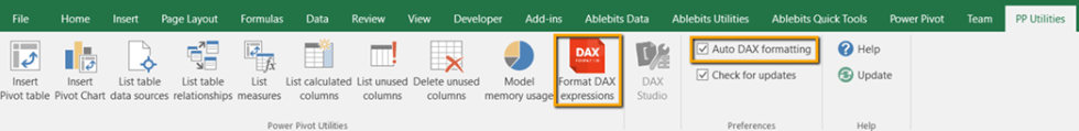 Excel PP Utilities Ribbon DAX Formatter