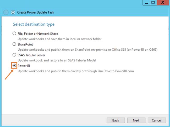 Power Update Power BI Desktop Destination Type