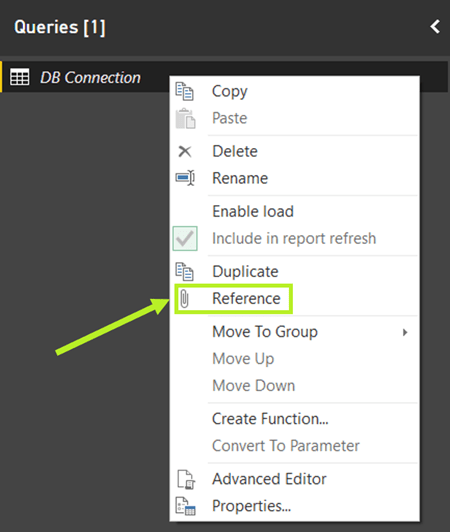 Power BI query reference query