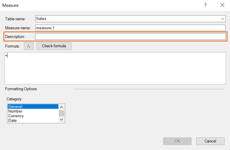 Excel DAX Editor Popup Window Description