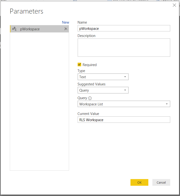 parameters for dataflows: edit the new parameter