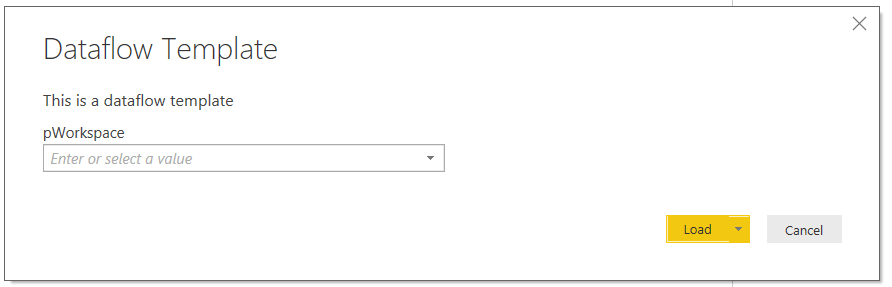 parameters for dataflows. Open the template. The user will see a dropdown of workspaces to choose from.