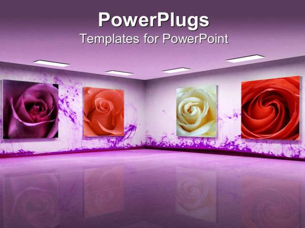 Powerpoint Template Art With Beautiful Purple