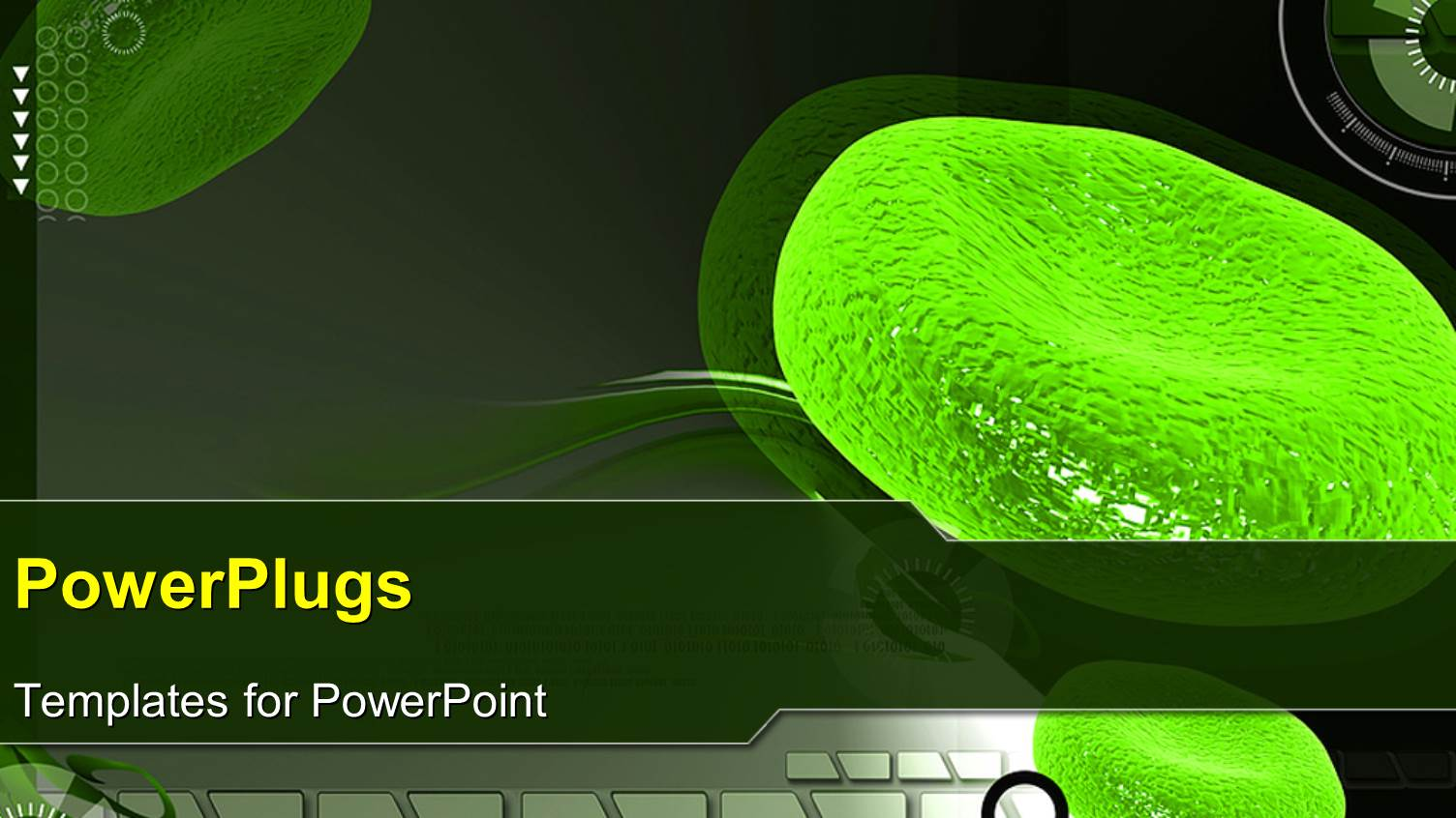 Powerpoint Template A Magnified View Of Green Colored Red Blood Cells
