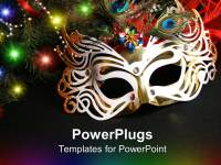 PowerPoint Template: colorful masquerade mask surrounded ...