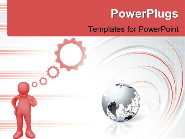 PowerPoint Template Depiction of 3D man thinking with