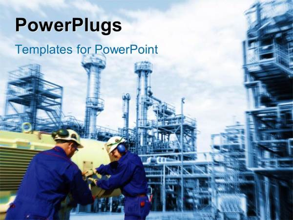 Powerpoint Template Industrial Plant In Background With