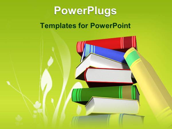 Powerpoint Template Stack Of Books With Green Background