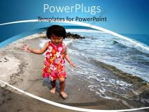 Powerpoint Template Happy Asian Child Walking Barefoot