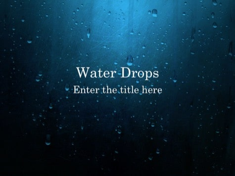 Water Drops Blue PowerPoint Backgrounds