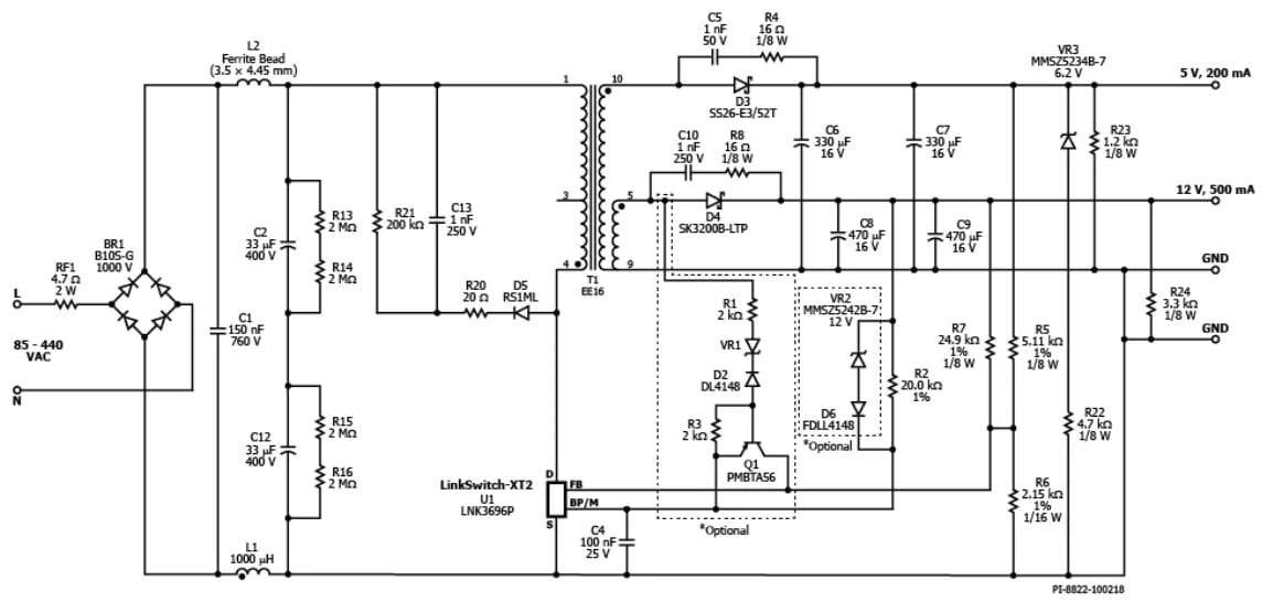 85- to 440-Vac Input, 7W, Dual-Output Flyback Reference