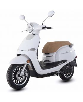 hight resolution of trailmaster 2018 turino 50a 50cc moped scooter with retro stylish design 12 wheels