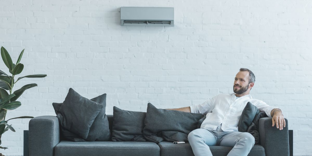Man sitting on couch underneath mini-split