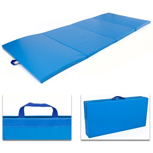4-x-8-x-2-PU-Leather-Gymnastics-Tumbling-Martial-Arts-Folding-Mat-Blue-0