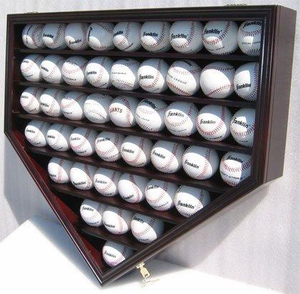 46-Baseball-Display-Case-Cabinet-Holder-w-UV-protection-Mahogany-Finish-B46-MA-0