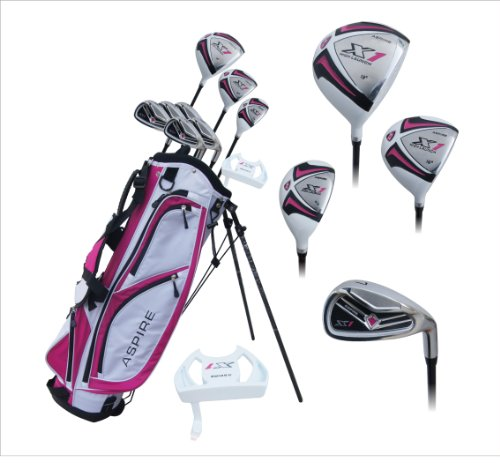 Aspire-X1-Ladies-Womens-Complete-Right-Handed-Golf-Clubs-Set-Includes-Titanium-Driver-SS-Fairway-SS-Hybrid-SS-6-PW-Irons-Putter-Stand-Bag-3-HCs-Cherry-Pink-0