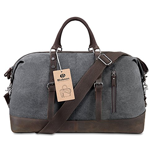 BLUBOON-Travel-Duffel-Bag-Canvas-Leather-Overnight-Bag-0-0