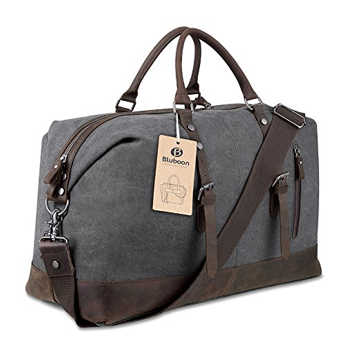 BLUBOON-Travel-Duffel-Bag-Canvas-Leather-Overnight-Bag-0