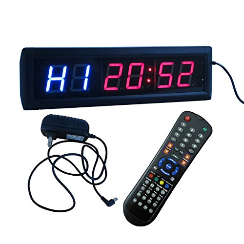 Crossfit-Interval-Timer-Stopwatch-Wall-Clock-w-IR-Remote-Control14x4x15-0