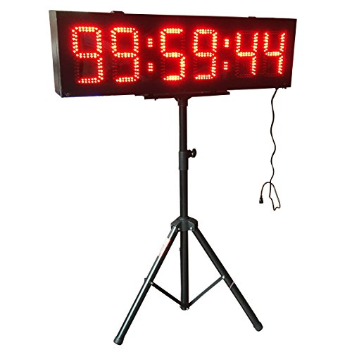 Double-Sided-LED-Race-Timing-Clock-Door-Open-Mantainence-Design-IP64-Cabinet-8-High-Character-Hours-Minutes-Seconds-Format-Running-Events-Timing-Clock-with-Tripod-Wireless-RF-Control-0