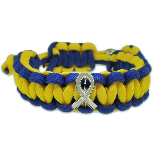 Down-Syndrome-Blue-and-Yellow-w-Awareness-Ribbon-Paracord-Adjustable-Bracelet-0