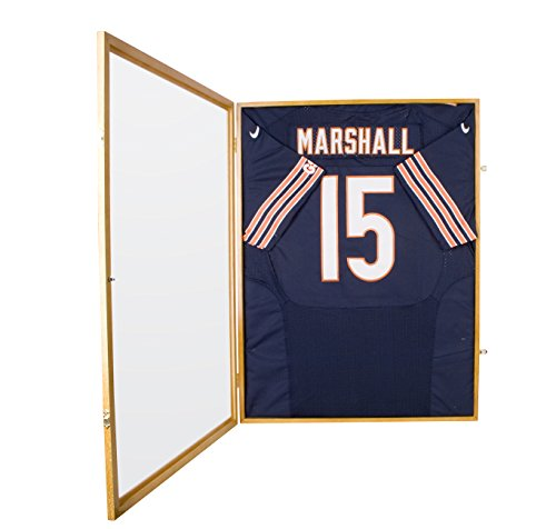 Football-Basketball-Baseball-Hockey-Jersey-Frame-Display-Case-98-UV-Protection-Built-in-LOCK-Oak-Finish-JC01-OAK-0-0