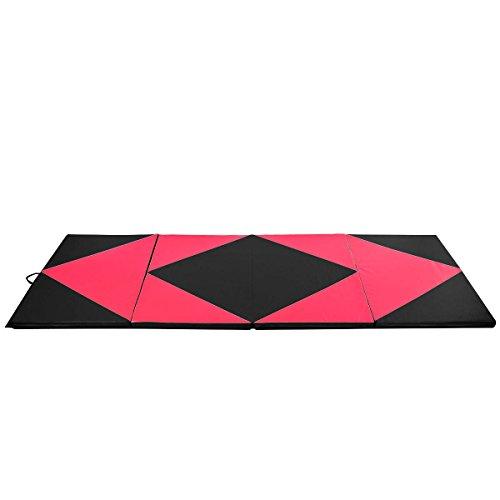 Giantex-4x10x2-Thick-Folding-Panel-Gymnastics-Mat-Gym-Fitness-Exercise-Pinkblack-0-0