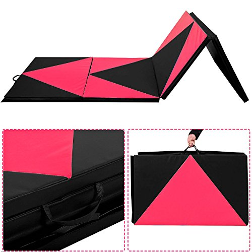 Giantex-4x10x2-Thick-Folding-Panel-Gymnastics-Mat-Gym-Fitness-Exercise-Pinkblack-0