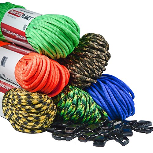 Paracord-Planet-550-LB-Type-III-7-Strand-4mm-Tactical-Cord-with-Choices-of-10-20-25-50-100-Feet-Hanks-or-250-1000-Foot-Spools-With-38-Inch-Black-Buckles-Over-300-Colors-To-Choose-From-0