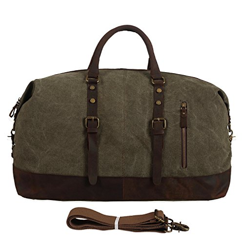 Polare-Large-Modern-Military-Sports-Canvas-Real-Leather-Travelling-Gym-Bag-Weekend-Bag-Overnight-Duffle-Bag-0-0