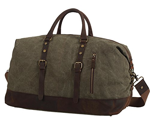 Polare-Large-Modern-Military-Sports-Canvas-Real-Leather-Travelling-Gym-Bag-Weekend-Bag-Overnight-Duffle-Bag-0